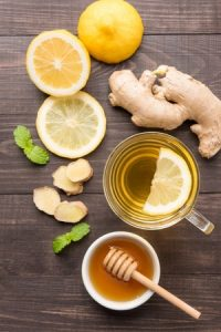 1 cup warm water, ginger, turmeric, juice of lemon and honey.