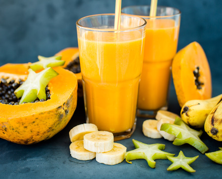 Tropical smoothie with papaya, Mango and banana