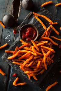 Homemade sweet potato fries with cinnamon, paprika, salt and pepper